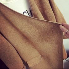 High Quality Long Cashmere Knitted Cardigan Women Casual Loose Lrregular Large Lapel Sweater Coat Female 2015 Autumn Winter L123(China (Mainland))