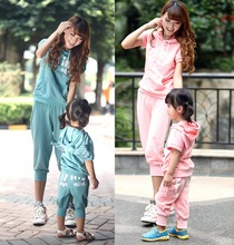 Family clothing sets new summer Angel wings cloth set hooded T-shirt + Shorts 2 PCS set Mother and daughter set Girls clothing
