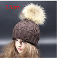 18 cm Large Real Raccoon Fur Pompom Wool Knitted Winter Hat For Women Fashion Women Ski Hat Beanie With Fur Hairball Top