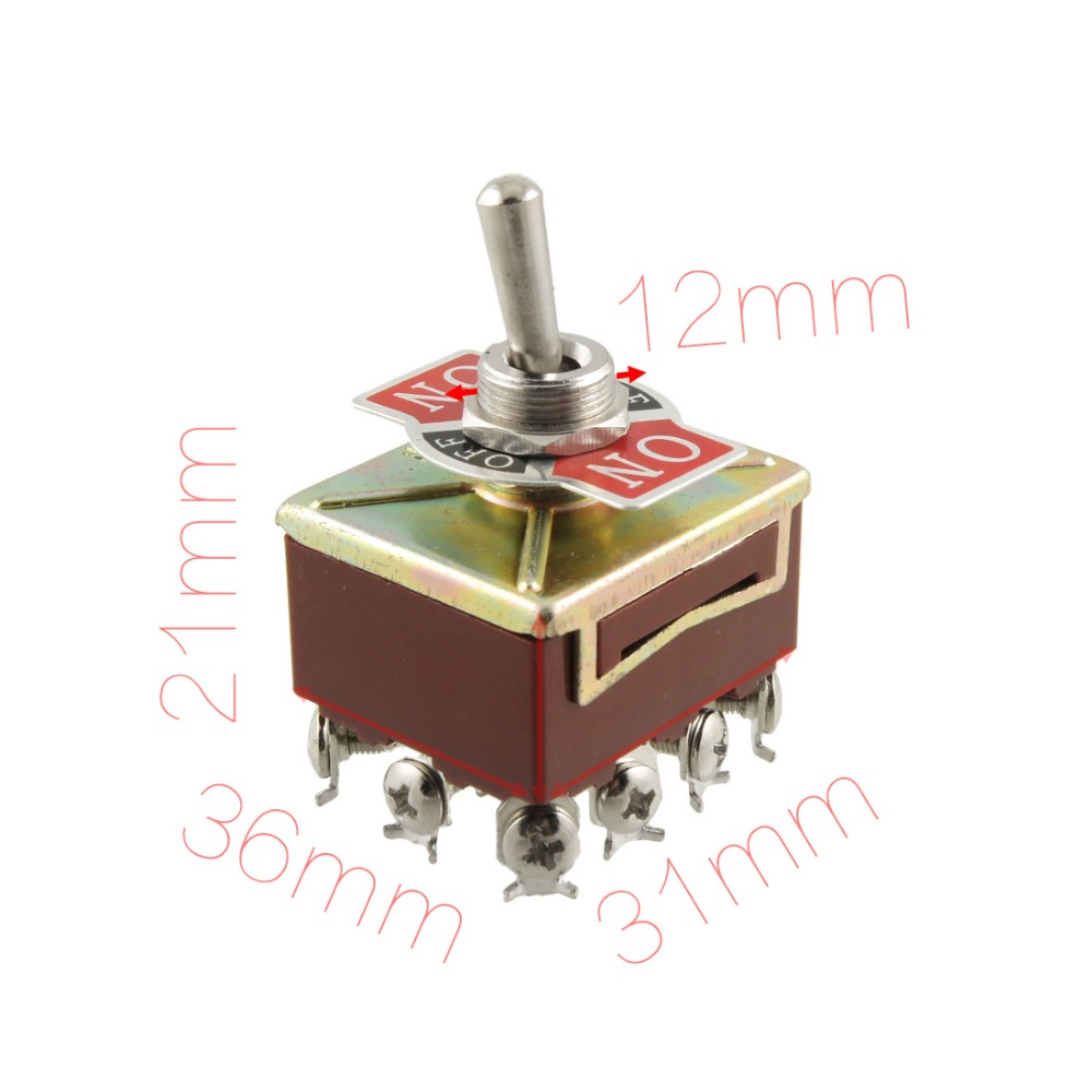 Diameter 12mm AC 15A/250V 10A/380V Screw Terminals On/Off/On 4PDT Toggle Switch Discount 50 Size 36mm x 31mm x 21mm (L*W*H)(China (Mainland))