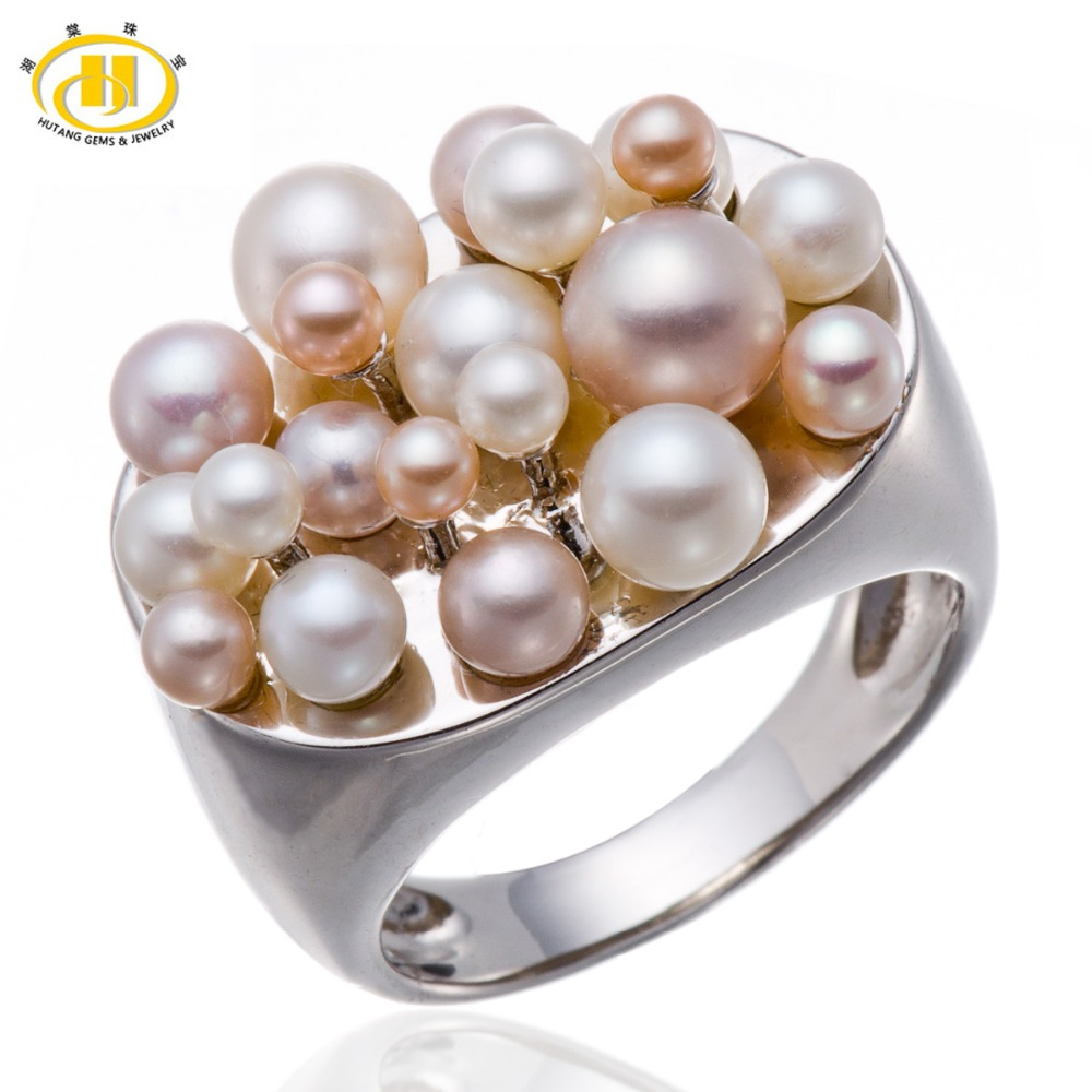Pink &amp; White Freshwater Pearl Solid 925 Sterling Silver Cluster  Ring Fine Jewelry Gift for Women<br><br>Aliexpress