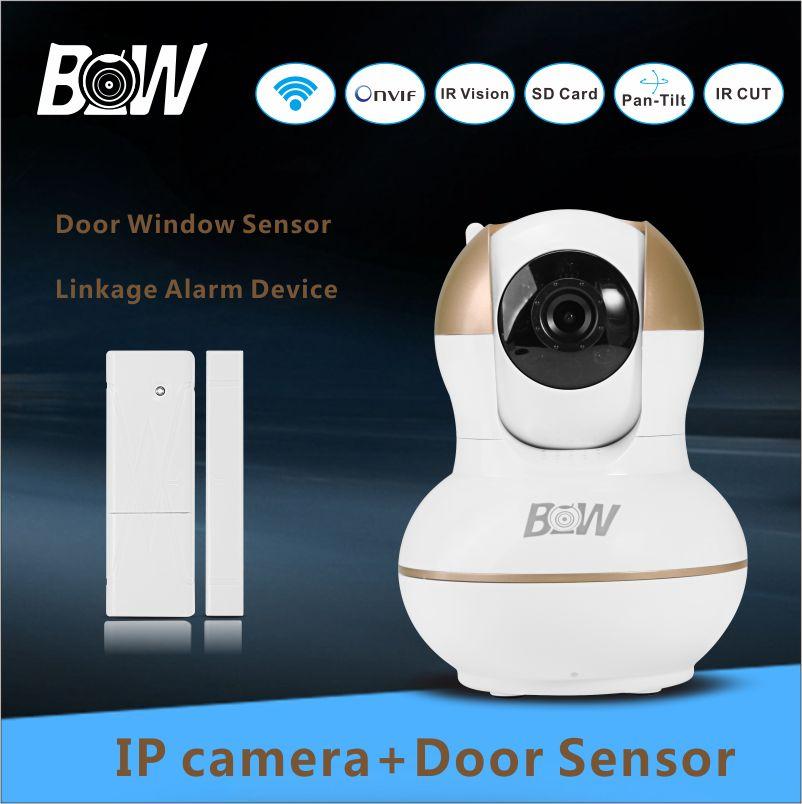 720p Full HD 3mp IP Camera Alarm Sensor + Door Sensor Video Surveillance Security System Camera Wifi Phone Remote Control BW012G(China (Mainland))