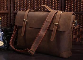 Crazy horse Genuine Leather Laptop bag Vintage Leather Men's Briefcase Laptop Tote Bag Versatiled Style NEW Free Shipping