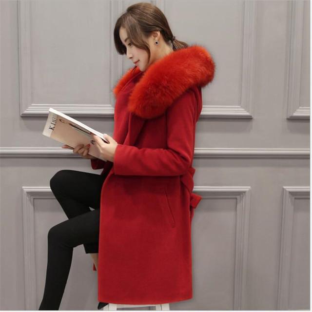 Европа Сша Осень/зима 2016New Женский Темперамент Шерстяное Пальто Мода Большой Ярдов Развивать Нравственность Пальто Куртки