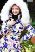 New winter Korean imitation fox fur collar Nagymaros camouflage jacket and long sections Slim female models large size women