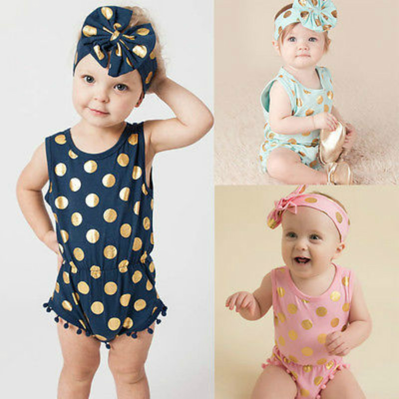 Baby Girl Clothes Tassel Gold Dots Bodysuit Playsuit Bow Head Band Outfits Set Sky Blue Pink Dark Blue 0-24Months(China (Mainland))