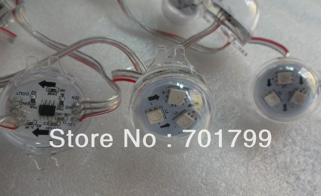 Promotion!!! 20pcs WS2811 3leds rgb pixel led module,transparent cover,DC12V,30mm diameter;with transparent wire
