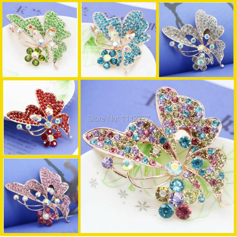 Hot Sale Butterfly Shape Rhinestone Brooch For Women Crystal Brooches Clothing Decoration Fashion Wedding Jewelry Birthday Gift(China (Mainland))