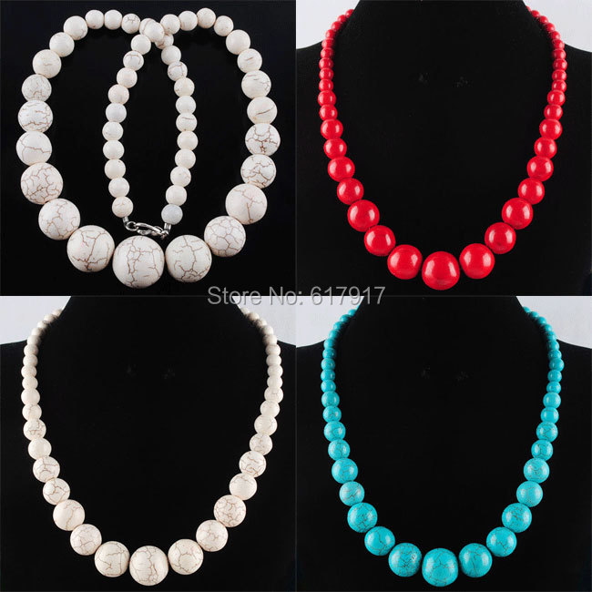 """Free shipping 8~20MM Natural Turquoise Round Beads Necklace Strand 19 """" JEWELRY TBH025(China (Mainland))"""