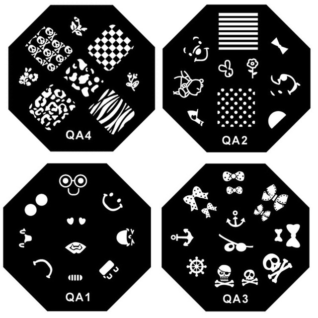 6Octagon Stainless Steel Nail Art Stamp Stamping Template, Printing Image Plate, 10pcs/lot