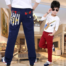 2015 New Big Boys Cotton Long Pants Capris Children Leisure Full Length Trousers Straight Autumn Winter a Brand Cotton Cloth(China (Mainland))