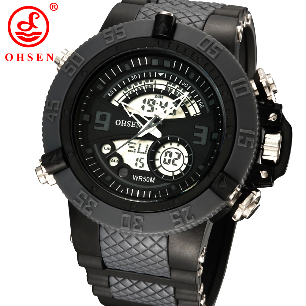 New Men Military Watch Sports Watches Dual Time LED Digital Quartz Alarm Chronograph Black Silicone Wristwatch Relogio Masculino<br><br>Aliexpress