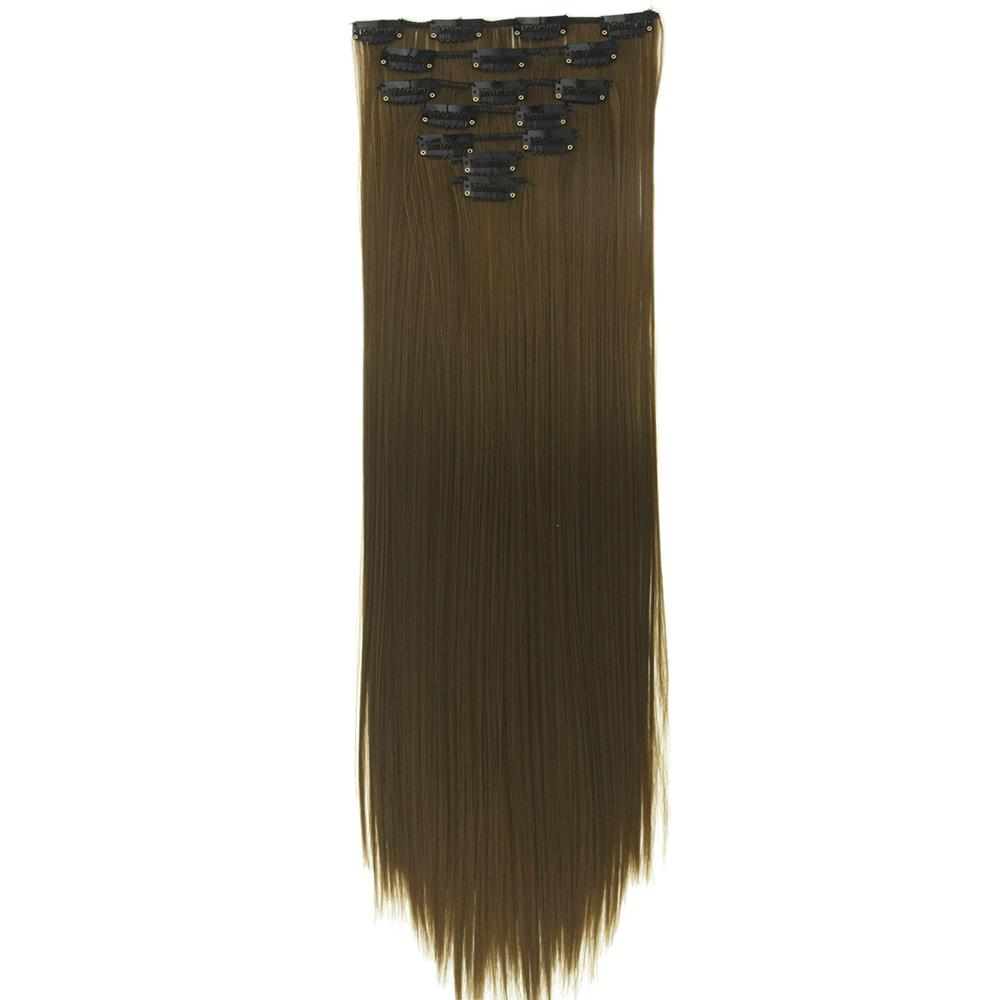 Soowee 24'' Long Straight Black Brown High Tempreture Fiber Synthetic Mega Hair Pad Clip In Hair Extensions Full Head Hair(China (Mainland))