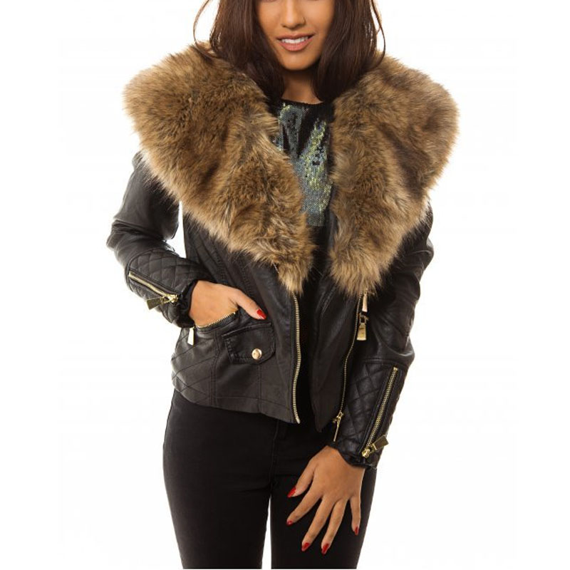 A.N.A Women's Leather Jacket with Removable Lambskin Fur Collar Sz Medium Bomber.