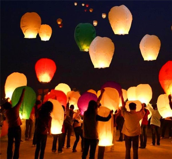 10pc 14'' Wishing Lamp Round Paper Chinese Lanterns Flying Paper Sky Lanterns wedding bachelorette Hen party decoration supplies(China (Mainland))