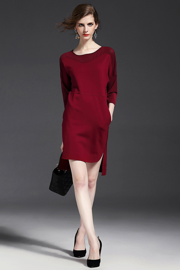 Free shipping! 2015 new autumn style red and black classic women dress OL style and big sale women dress YQM0030(China (Mainland))