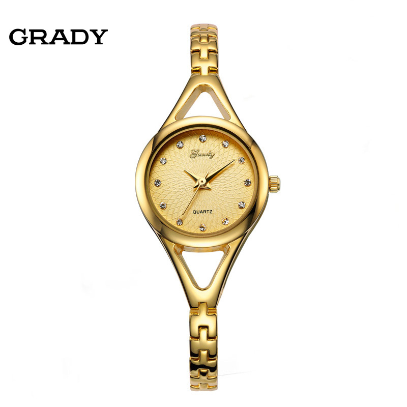 Grady Woman watches brand bracelet silver gold color Japan movt stainless steel back quartz watch RELOJ MUJER(China (Mainland))