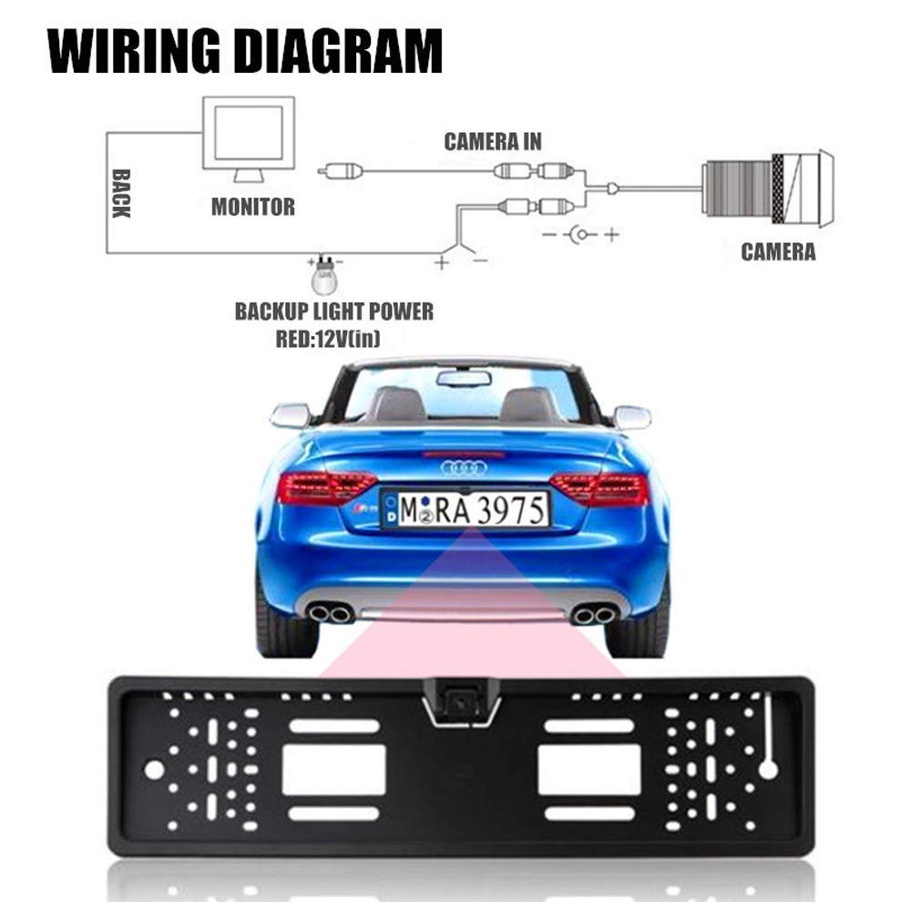12V Car Rear View Camera Backup Parking with EU European License Plate Frame + A Stand Holder+ 4.3 inch LCD Monitor