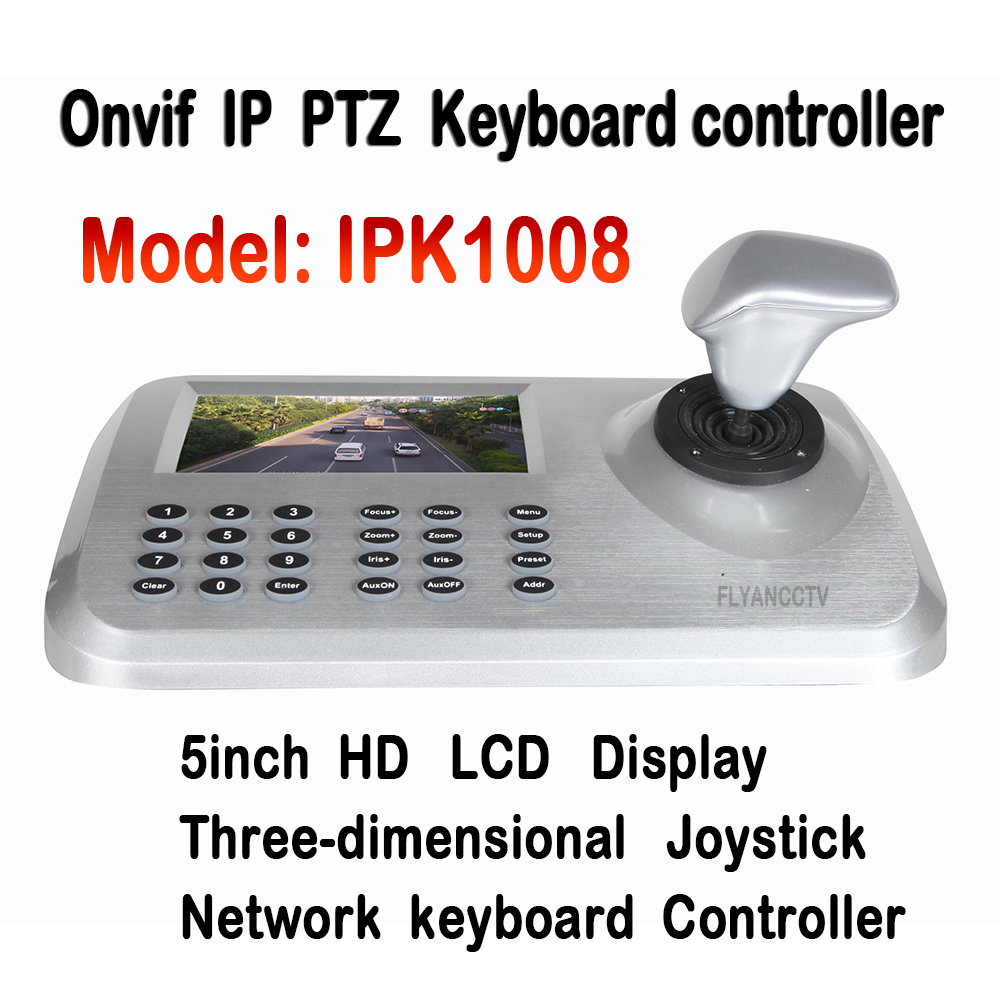 5inch LCD ONVIF IP CCTV Network PTZ Mini Keyboard controller For IP Camera,3D Joystick HD LCD Network PTZ Keyboard Controller(China (Mainland))