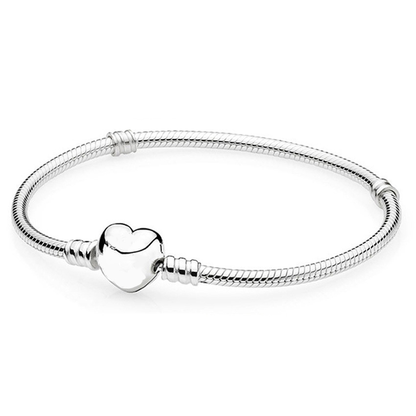 New Silver Plated Bracelet Love Heart Clasp Snake Chain Bracelet Bangle Fit Women Bead Charm DIY Jewelry With Logo(China (Mainland))