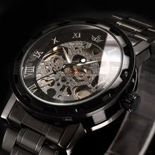 Mens Fashion Transparent Steampunk Homme Montre Skeleton Black Gift Men Mechanical Hand Wind Stainless Full Steel Watch / PMW238