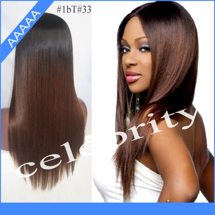 14-22Inch Ombre full lace wig two tone color natural hairline free parting wigs black women - Celebrity Queen Hair Lo.,Ltd store