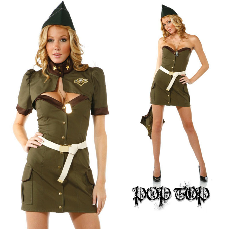 Army Green equipment American policewoman cosplay clothing Stewardess sailor Cosplay clothes Wholesale Free shipping(China (Mainland))