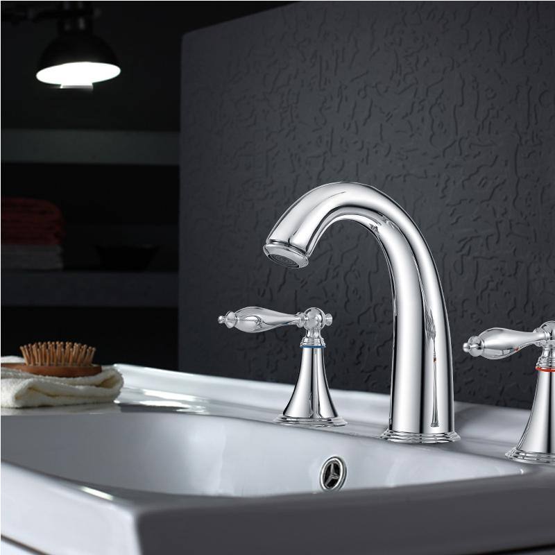 New modern bathroom faucet brass chrome double handles for Double bathroom sink basin