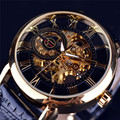 Luxury 3d Logo Design Hollow Engraving Black Gold Case Leather Skeleton Automatic Mechanical Watches Men Brand