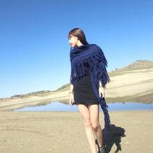 2019 ブランドデザイナー女性パシュミナニットヒジャーブ自然のレトロバンダナ毛布正方形スカーフフリンジ三角冬の房のスカーフ(China)