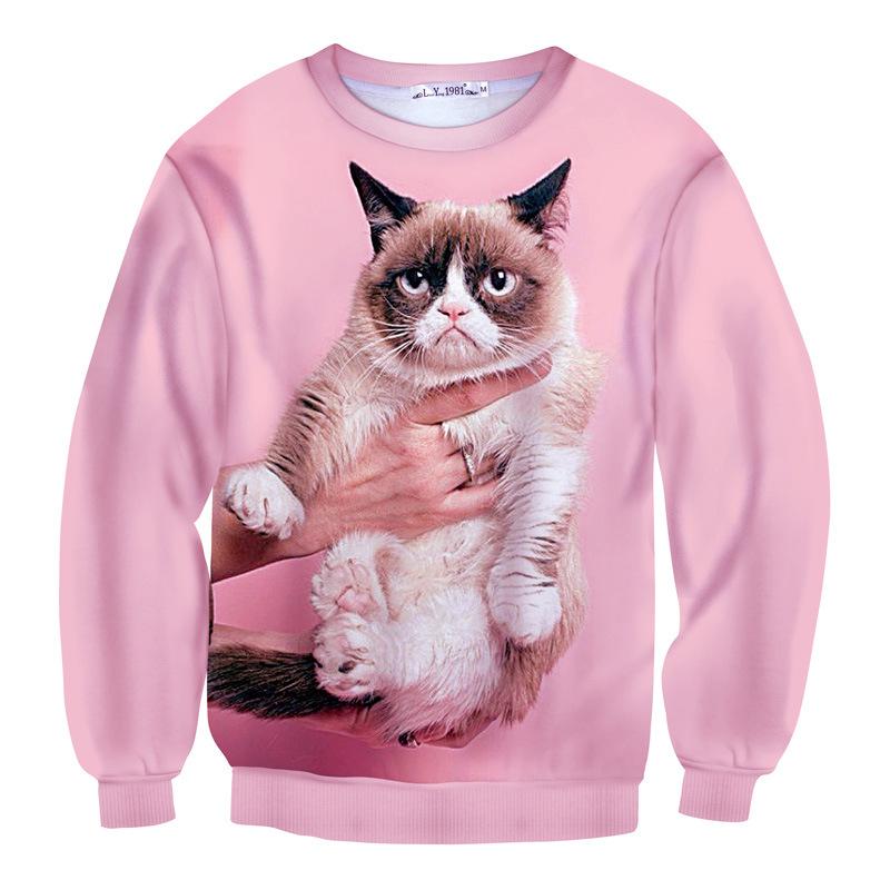 Era Dyehouse famous grumpy cat sweatshirt arrival pink 3D animal hoody for men women unisex streetwear cool pullovers(China (Mainland))