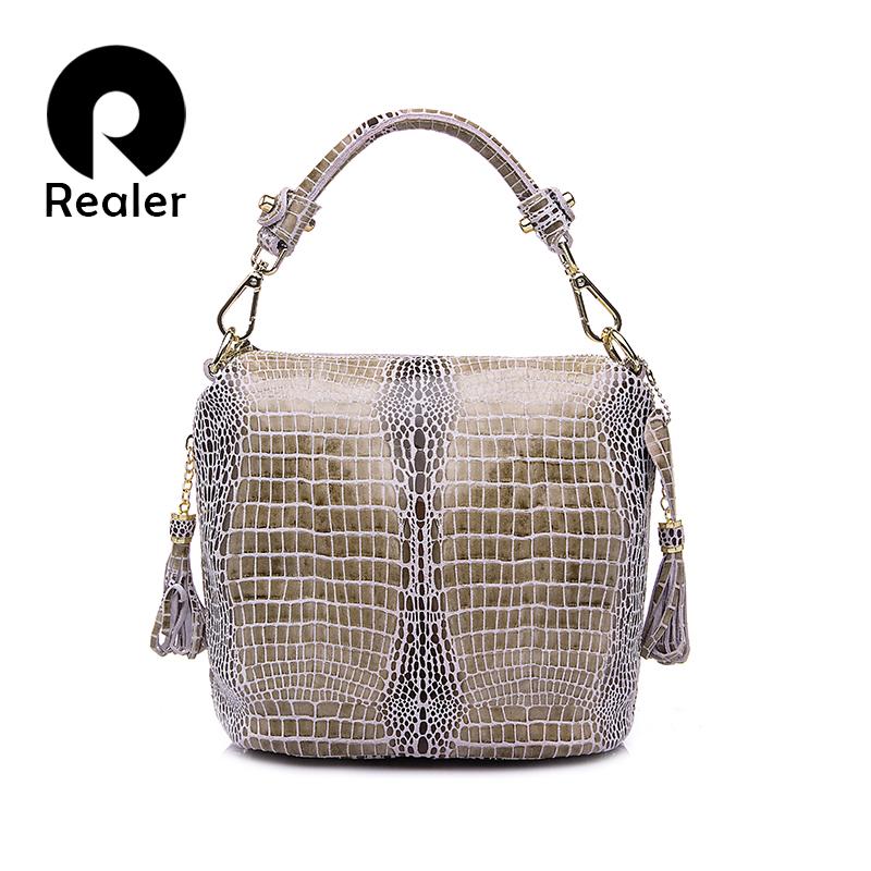 Realer Brand Design Women Embossed Tassel Handbag Crocodile Pattern Tote Bags Genuine Leather Shoulder Messenger Bag For Ladies(China (Mainland))