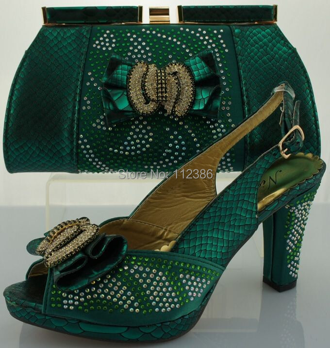 arrivel!Hot sales African ladies Shoes Matching Bag set ME0066 green - Fashion clothing store