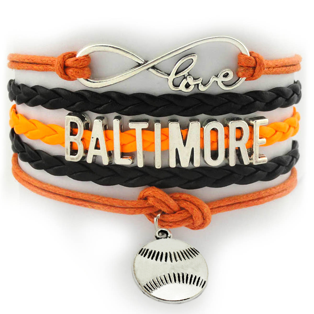 Infinity Love Baltimore Baseball Charms Bangle Bracelet Multi Layers Colors Custom Cheer City Sports Wrist Wrap Bracelet(China (Mainland))