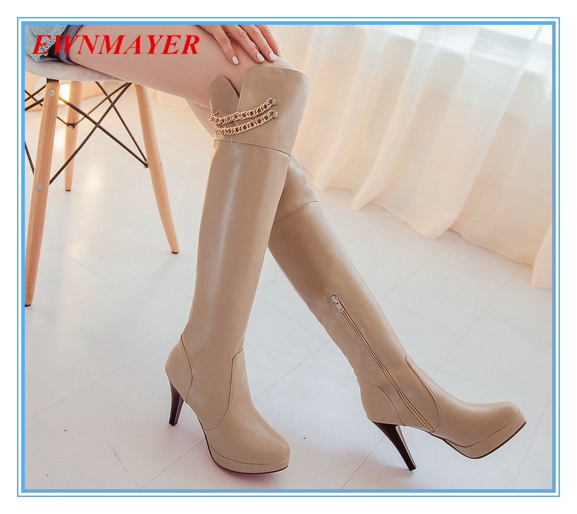 ENMAYER 2014 big size 34-43 womens Over-the-Knee boots sexy thin heels fashion boots for graceful Ladies<br><br>Aliexpress