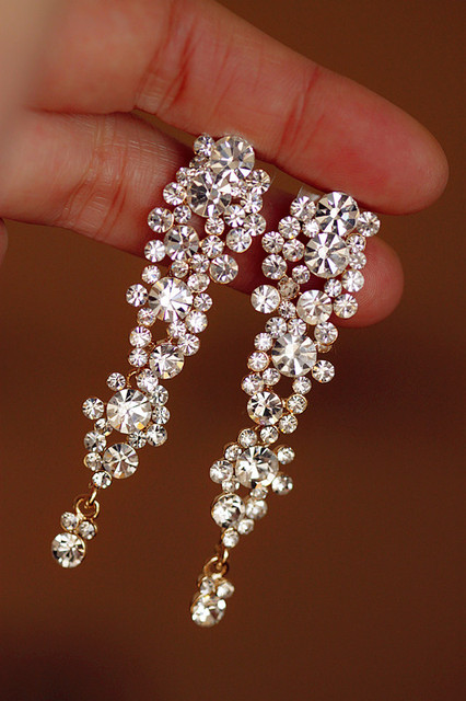 Ol elegant bride accessories luxury quality long tassel exquisite bling earrings drop earring
