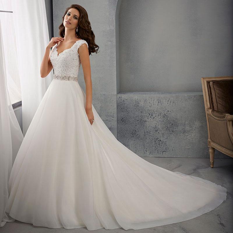 vestido de novia Romantic stunning Cheap ivory A Line Wedding Dresses 2016 Sleeveless Lace Bridal Gown With Train(China (Mainland))