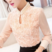 2016 New style Women long sleeved Casual shirt Patchwork Chiffon blouse Sexy Flower Beaded lace Tops Women clothing 160E15(China (Mainland))