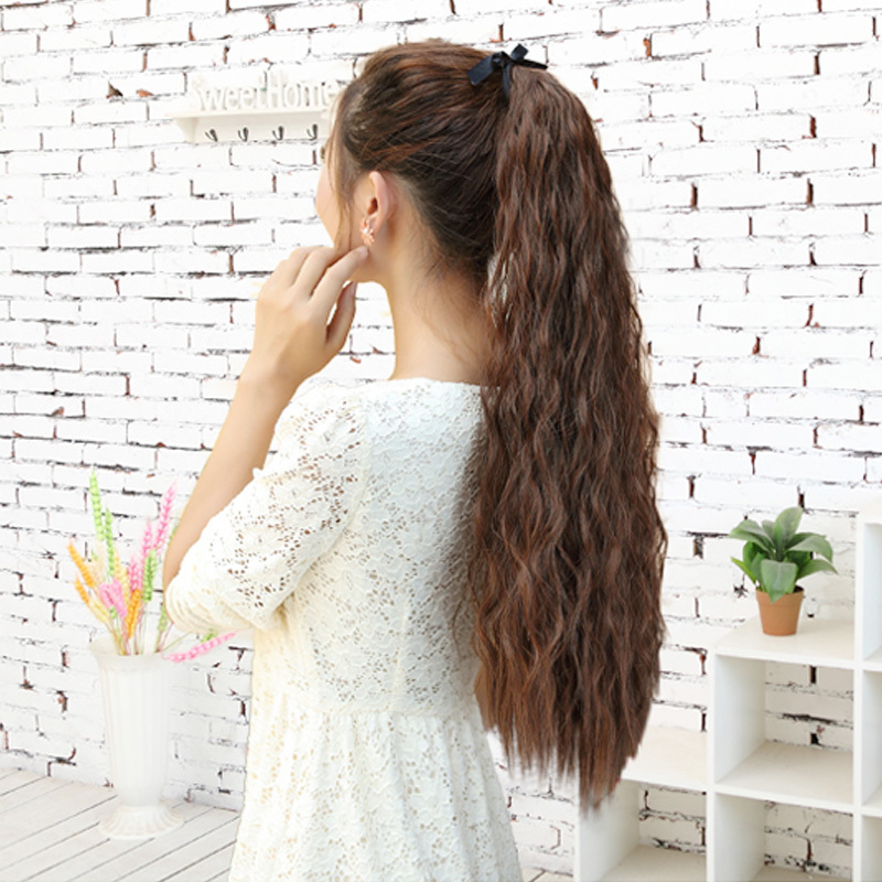 Women's Long Corn Stigma Style Curly Wave Hair long wigs Tie Band Ponytail Wigs Black Brown Flaxen #L04038 - Shanghai YY Co. Ltd. store