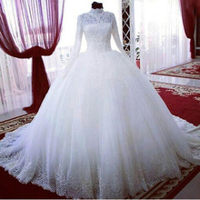 Buy BU Custom Made High Neck Long Sleeves Appliques Lace Ball Gown Wedding Dresses Button Back Chapel Train for $172.90 in AliExpress store