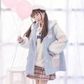 Mori Girl 2016 Autumn Women Original Woolen Long Coat Cute Print Cartoon Pockets Buttons Loose Hooded