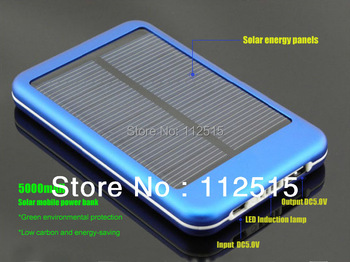 5000mAH Solar Charger External Battery Pack Charge For Moblie Phone iPhone 4 4S Samsung HTC Nokia Nexus ZTE Portable Power Bank