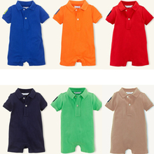 2016 Summer Newborn Baby Rompers Cotton Short Polo Romper Baby Boys Clothes Newborn Jumpsuit Ropa Bebes Brand Baby Girl Clothing(China (Mainland))