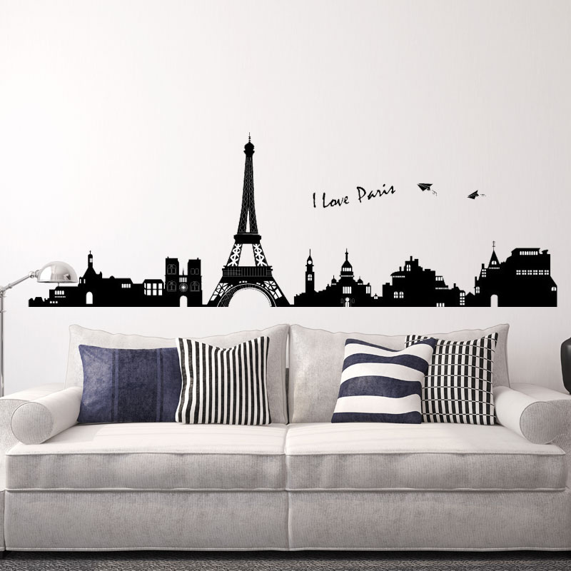 Fashion Pure Black Eiffel tower City building Silhouette boy's Room Sofa tv Background Home Decoration waterproof wall stickers(China (Mainland))