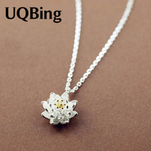 Buy Drop 925 Sterling Silver Chain Necklaces Lotus Flower Pendants&Necklaces Jewelry Collar Colar de Plata for $3.99 in AliExpress store