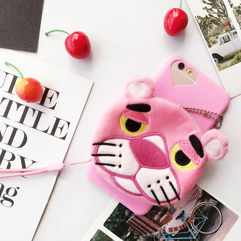 "Cute Toy Phone case for iPhone 7 7plus 6s 6splus 5.5 6 6plus 4.7"" Pink Panther Bear Black Cat Purse Wallet Bag Soft Back"