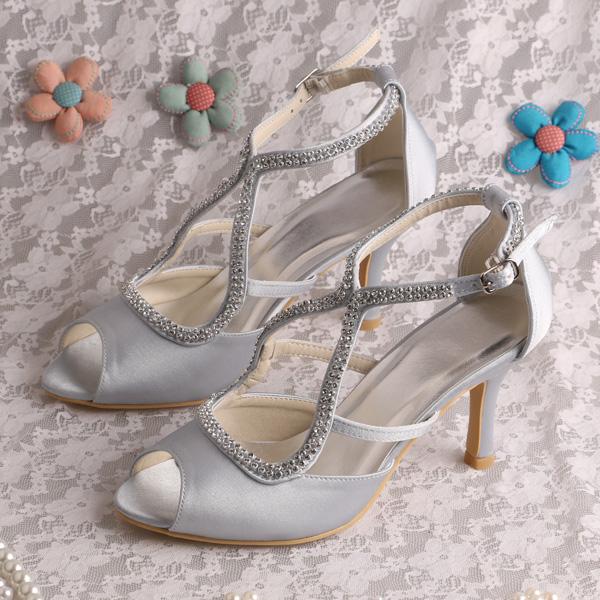 wedopus dropshipping mid heel silver bridal sandals