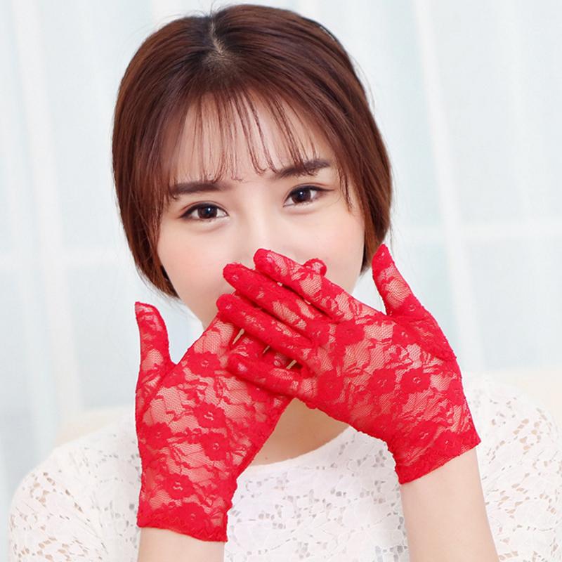 1 Pair 2016 Fashion Summer Ultra-thin Short Paragraph Sunscreen Gloves Women's Lace Slip Printing Outdoor Driving Mitten Anti-UV(China (Mainland))