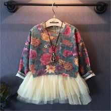 2015  Autumn Baby Girl Clothes New girls  clothes set long sleeve princess girl clothing set flowers blouse + tutu skirt suit(China (Mainland))
