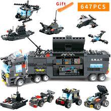 1122 pièces SWAT série Police de la ville blocs de construction véhicule hélicoptère ville Police Staction briques à monter soi-même Compatible avec LegoED bloc Jeux de rôle Figurines Jouets Pour Enfants(China)